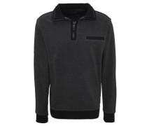 Sweatshirt Troyer-Kragen Brusttasche Kontrast-Details Baumwolle