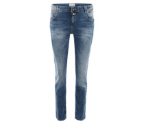 Jeans Slim Fit Knitter-Optik Waschung Strass