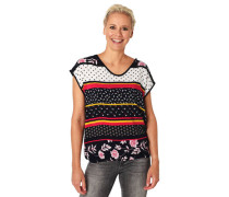 T-Shirt Allover-Muster V-Ausschnitt