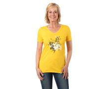 T-Shirt, Flammgarn, Front-Print, Strass-Details