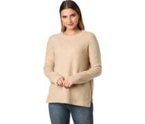 Pullover, Rundhals, seitliche Reißverschlüsse, für Damen, hellbeige