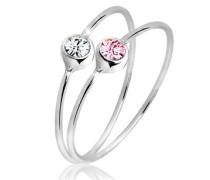 Ring Set Swarovski® Kristalle 5 Sterling Silber  mm