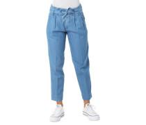 Stoffhose Jeans-Optik Binde-Gürtel Tapered Leg