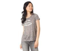 T-Shirt Animal-Muster Schrift-Print Ärmel-Umschlag