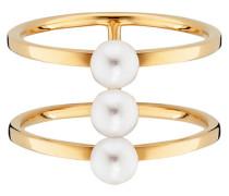 Ring 925/- Sterling Silber vergoldet Perlen