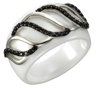 Ring 5/- Sterling Silber mit Keramik und Zirkonia