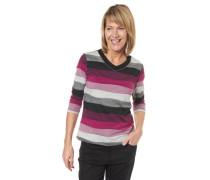 Shirt 3/4-Arm Streifen verzierter V-Ausschnitt