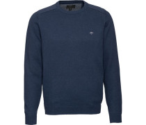 Pullover, Baumwolle, Rundhals, Logo-Stickerei, Riipbund, für Herren, L