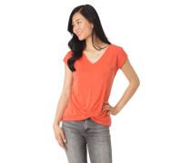 T-Shirt mittige Ziernaht Knoten-Detail überschnittene Schulter