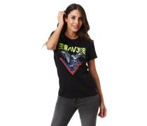 T-Shirt Front-Print Nieten Rundhalsausschnitt