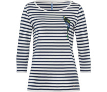 Shirt mit Papageien-Applikation /weiß