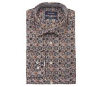 Businesshemd Comfort Fit Baumwolle Kent-Kragen florales Muster Brusttasche