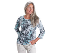 """3/4 Shirt """"Sonia"""" Pima-Baumwolle florales Muster Strass-Details"""