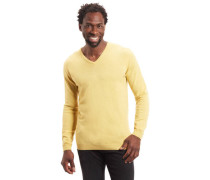 Pullover, unifarben, V-Ausschnitt, reines Kaschir