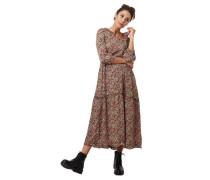 Maxi-Kleid, Blumenmuster, Split-Neck, Volants