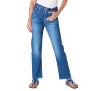Jeans, 7/8-Länge, Straight Fit, Fransen am Saum, Knopfleiste