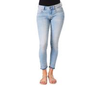 "Jeans ""Lynn"", 7/8-Längekinny Fit, Used-Look, offener Saum, für Damen, hell, W27/L32"