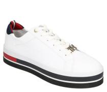 Sneaker Leder Plateau Marken-Details Verzierung an Schnürsenkel