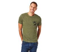 T-Shirt Brusttasche mit Print Melange Rundhalsausschnitt