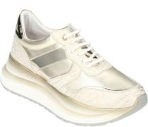 Sneaker, Schnürung, Plateausohle, hoch, Kontrast-Einsätzeogo, aufwändig,