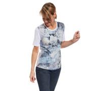 T-Shirt floraler Print Rundhalsausschnitt Halbarm