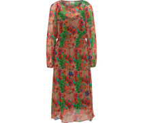 Kleid, Chiffon, Blumen-Muster,