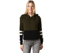 Sweatshirt, Kapuze mit Tunnelzugchrift-Print Logo, Kontraststreifen, Rippbündchen, für Damen, dunkel/