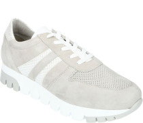 Sneaker, hoch, Schnürschuh, Veloursleder, Fersenkappe und Zunge im Kontrast-Ton,