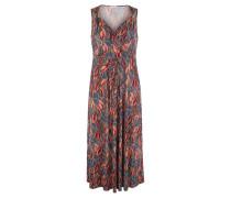 Kleid V-Ausschnitt ärmellos Blätter-Print Große Größen