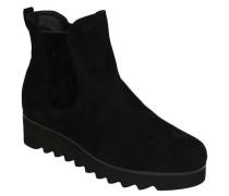 Boots, Veloursleder, Stretch-Einsätze, Zickzack-Sohle