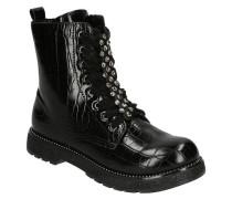 Boots, Glattleder, Reptil-Struktur, Nieten, Glitzer-Sohle, Schmucksteine