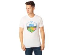 T-Shirt Melange Front-Print Rundhalsausschnitt