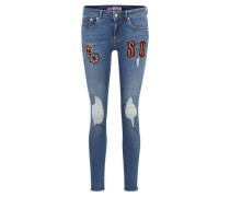 "Jeans ""Cassie"" Skinny Fit Patches Strass Pailletten Used-Optik"