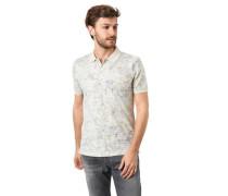 Poloshirt Allover-Print verlängerter Rücken