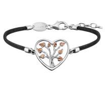 Armband Seide Herz Silber Blätter Rotvergoldet JJBR0234.8