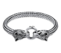 Armband Wolfskopf Braided Ringverschluss 5  cm