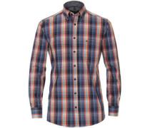 Freizeithemd, Karo, 1/1 Arm, Button Down-Kragen, Comfort Fit, /rot, L