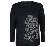 Pullover, Feinstrick, florales Muster, Strass-Besatz,