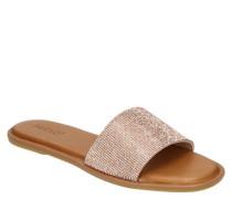 Pantoletten Leder Strass-Steine gepolsterte Decksohle