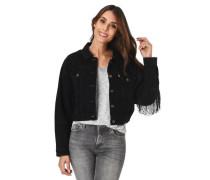 Jeansjacke kurz mit Fransen reine Baumwolle