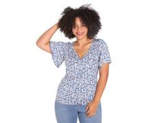 T-Shirt V-Ausschnitt Blumen-Print Große Größen