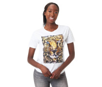 T-Shirt Print Tiger-Motiv Strass-Applikation