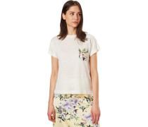 T-Shirt, aufgesetzte Tasche, florales Detail, reines Leinen,