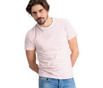 T-Shirt Baumwo-Stretch Streifen Schrift-Detai