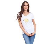 T-Shirt reine Baumwolle Rundhalsausschnitt Print-Motiv