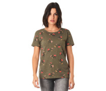 T-Shirt Flammgarn floraler Allover-Print