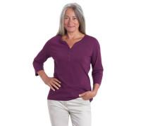 "Shirt ""Leni"" 3/4-Arm Bio-Baumwolle Henley-Ausschnitt unifarben"