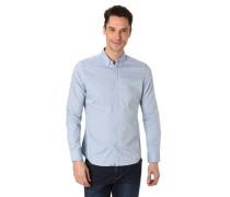 Freizeithemd Baumwolle Button-Down-Kragen meliert