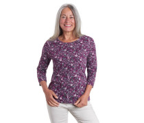 Shirt 3/4-Arm floral reine Baumwolle