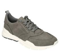 Sneaker Label-Prägung gepolstert Nubuklederimitat Kontrastsohle